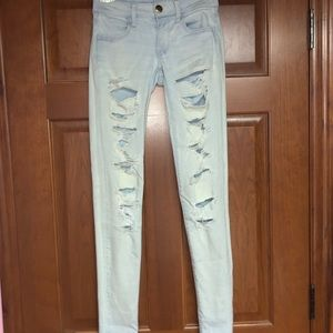 AE Light Ripped Super Low Rise Jeggings